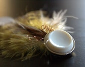 Yellow and Brown Feather Clip (for Kelsey)