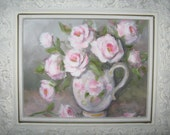 Shabby Pink Roses Oil Painting With Frame By Carole DeWald