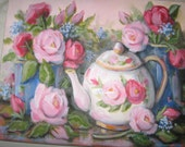 Teapot original oil painting Pink and dark Pink Roses by Carole DeWald