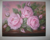 Pretty Pink Roses Original Oil Painting by Carole DeWald Shabby Chic 16 x 20