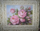 Original Oil Painting by Carole DeWald Pink Roses with Frame