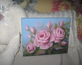 Oil Painting by Carole DeWald Original pink roses on blue