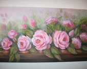 Shabby Pink Roses original almost yard long oil painting Carole DeWald romantic homes cottage