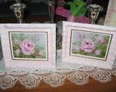 Pair of Small original Oil Paintings with Frames by Carole DeWald Pink Shabby Chic Roses