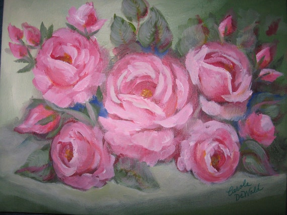 Pink  Shabby Chic Roses Oil Painting by Carole DeWald