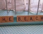 The Beach Aqua and Scrabble Tile Wood Sign OOAK