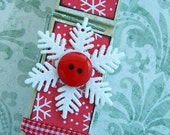 Peppermint Snowflake Clothespin Red White