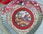 Christmas Santa Ornament Tin Heart
