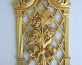 Bouquet of Roses Vintage 1971 Gold Plastic Wall Art from Syroco Retro Chic