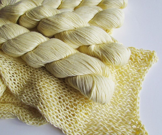 5 Skeins Yellow Yarn Cotton Silk Blend Plymouth Lyndon Hill  Yarn sFrom Nature Color Number 103