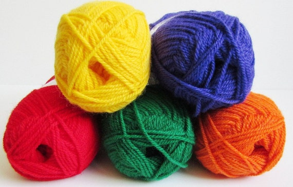 Rainbow Yarns  5 Balls Plymouth Encore DK Yarn Green Red Purple Yellow Orange Double Knitting Wool Blend Sport Weight