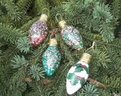 Light Bulb Ornaments - Hand Painted Roses and Ivy - Vintage Christmas Tree Light Bulbs Ornaments - Set of 4 Hand Painted Ornaments - No.3