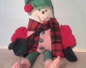 Christmas Elf Doll - Holiday Elf - Santas Elf - Handmade Elf Doll - PomPom Arms - Red and Green Elf - Christmas Decor - Elf Doll