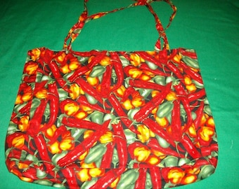 Chili Pepper Tote Bag - Green and Red Chile Peppers - Tote Bag with Pockets - Market Bag - Reusable Grocery Bag - Large Tote Bag