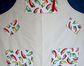 Large Apron - Chile Peppers Apron - Full Apron - Hot Red Chile Peppers - 2 Pocket Apron - Artist Smock - Full Coverage Apron