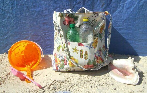 Summer Beach Bag - Large Tote Bag - Outdoor Canvas Fabric Bag - Lined Beach Bag - Beach Tote - Flip Flops - Hibiscus Flowers - Carry All Bag