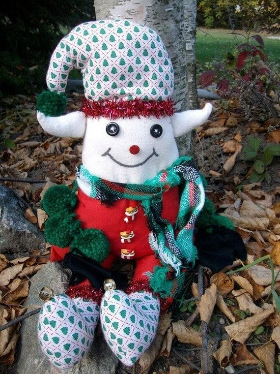 Christmas Elf Doll - Holiday Decor Elf - Sitting Elf - Smiling Elf - Handmade Elf Doll - Jingle Bell Elf - Christmas Tree Elf Doll