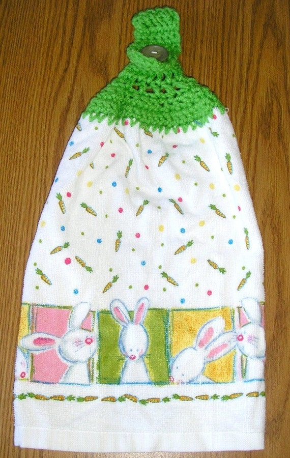 Easter Towel Bunny Crochet Top Hanging Kitchen Towel