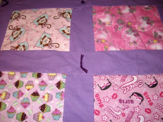 Baby Girls Quilt - Baby Crib Quilt - Pink Cupcakes & Monkeys Quilt - Flannel Baby Blanket - Snuggle Blanket - Nap Quilt - Warm Baby Quilt
