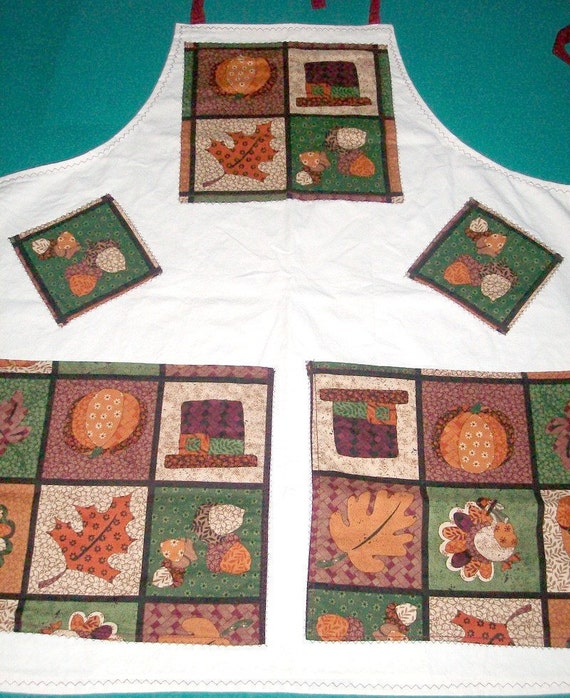 Apron - Thanksgiving Apron - Harvest Apron - 2 Pocket Apron - Fall Leaves - Turkey Apron - Large Apron - Canvas Apron - Mens or Womens Apron