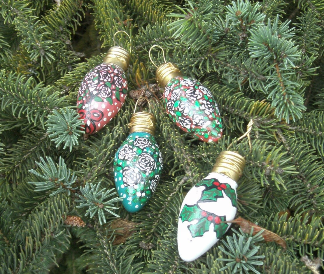 Christmas Light Bulb Decorations: Light Bulb Ornaments Hand Painted Roses And Ivy Vintage