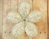 Hair Clip or Brooch Pin - Crystal Beaded Flower -  Ododo Originals Bridal Hair Clip