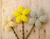 Flower Bobby Pins - Dove and Canary  - Ododo Originals