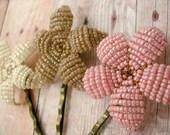 Bobby Pins Set of 3 Beaded Flowers - Pink, Crean, Ecru - Sweet Pea - Ododo Originals Bridesmaids Gift
