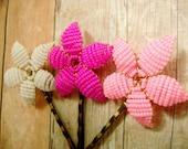 Cupid's Bow Flower Trio - Flower Bobby Pins - Ododo Originals