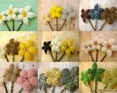Bobby Pins - Choose your set - Beaded Flower Bobby Pins - Ododo Originals