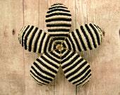 Stripped Hair Clip or Brooch Pin - Black and Cream - Pinstripe Beaded Flower -  Ododo Originals