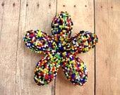 Hair Clip or Brooch Pin Beaded Floral - Paint Splatter - Beaded Flower Hair Clip - Ododo Originals