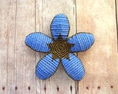 Floral Hair Clip or Brooch Pin - Periwinkle Blue and Bronze Art Deco Style Beaded Flower - Ododo Originals Bridal