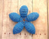 Floral Hair Clip Facinator or Brooch - Sky Blue Rainbow -  Beaded Flower Hair Clip - Ododo Originals