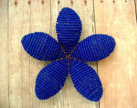 Floral Hair Clip Facinator or Brooch -Cobalt -  Beaded Flower Hair Clip - Ododo Originals