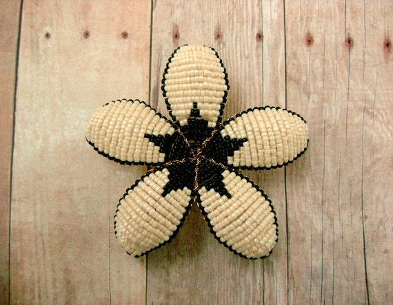 Hair Clip or Brooch Pin - Black and Cream Art Deco Style Beaded Flower - Ododo Originals