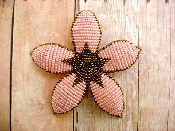 Floral Hair Clip or Brooch - Pink and Bronze Art Deco Style Beaded Flower - Ododo Originals