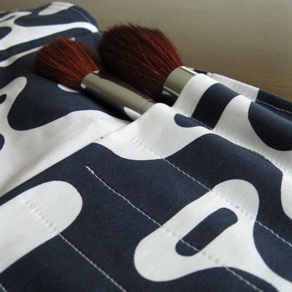 Makeup Brush Roll - Size Small - Lilac and Retro Mod Navy