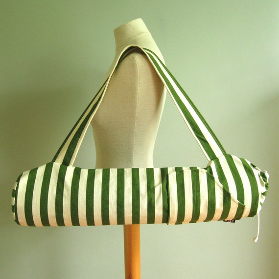 Yoga Mat Bag - Green Stripes