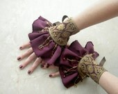 Gold brocade Ruffle cuffs pair