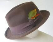 vintage fedora hat / brown felt / xs s
