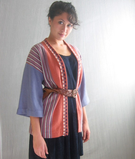 vintage 70's sweater / wrap sweater / s-m