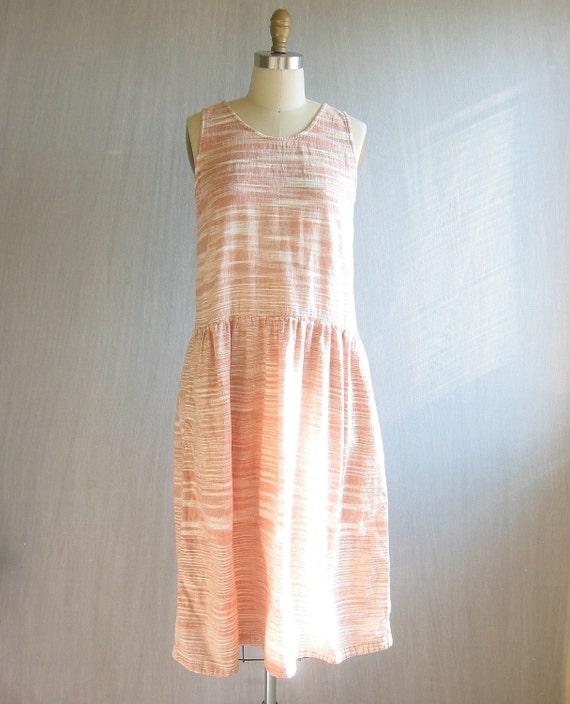 vintage tent dress / orange space dye / M L