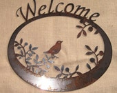Welcome Wren in The Olives-Metal/Garden Art-Welcome Sign