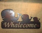 Whalecome-Metal Art-Welcome Sign-Nautical
