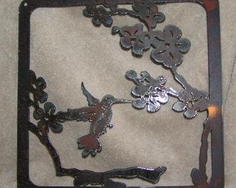Hummingbird in Blossoms Metal Art
