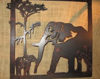 Elephants Metal Art Safari Art Home Decor