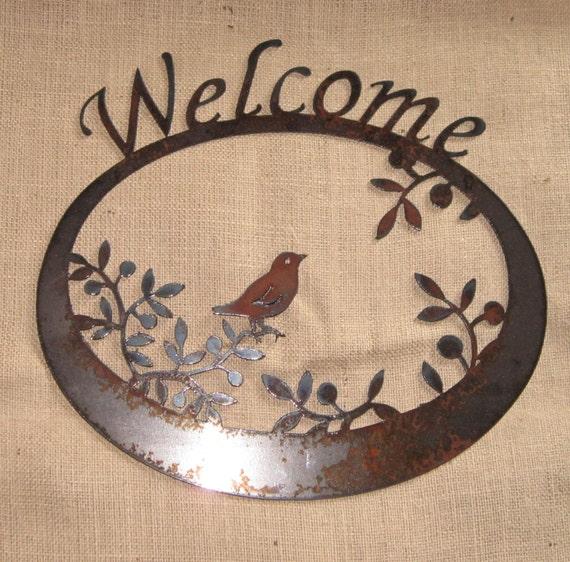 Welcome Wren in The Olives-Metal/Garden Art-Welcome Sign