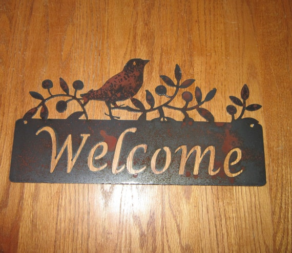Wren in The Olives Welcome sign-Metal Art