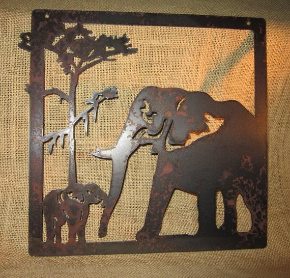 Elephants-Metal Art-Safari Art-Home Decor
